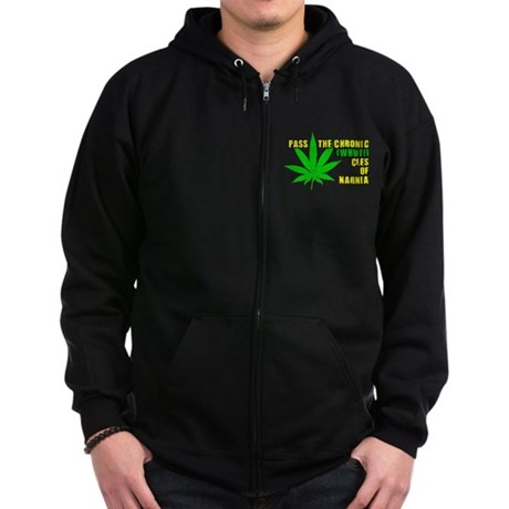 Pass the Chronic-WHUT-cles of Zip Dark Hoodie