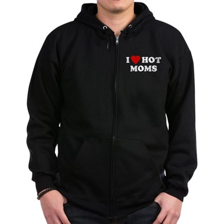 I Love [Heart] Hot Moms Zip Dark Hoodie