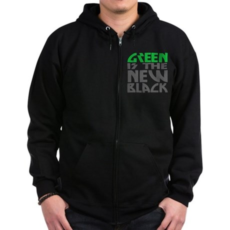 Green is the New Black Zip Dark Hoodie