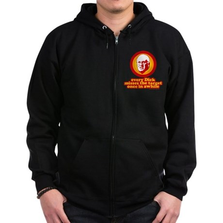 Every Dick Misses the Target Zip Dark Hoodie