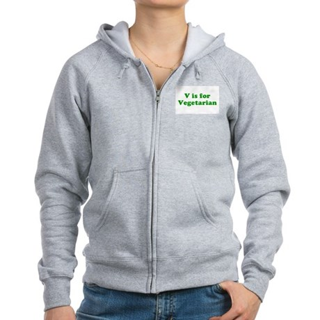 V is for Vegetarian Womens Zip Hoodie