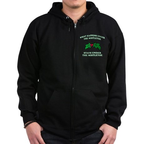 What Happens Under Mistletoe Zip Dark Hoodie