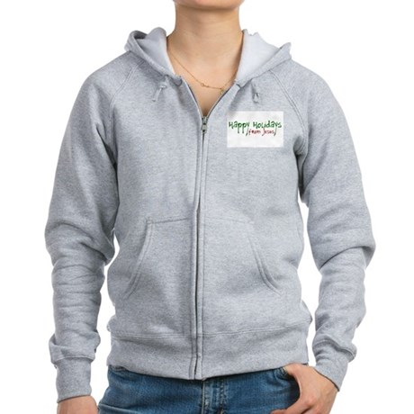 Happy Holidays from Jesus Womens Zip Hoodie