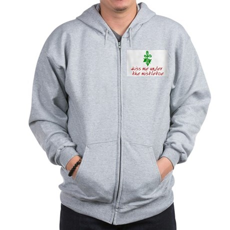 Kiss me under the mistletoe Zip Hoodie
