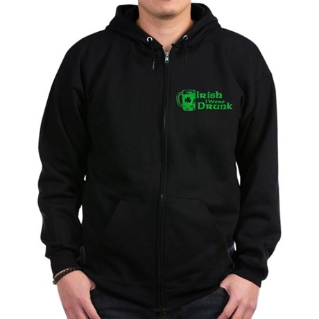 Irish I Were Drunk Zip Dark Hoodie