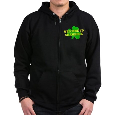 Welcome to Shamrock Zip Dark Hoodie