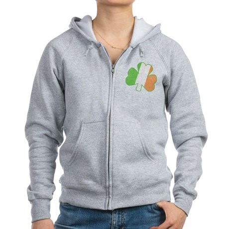 Vintage Irish Shamrock Womens Zip Hoodie