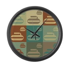 Curling Pop Art Large Wall Clock