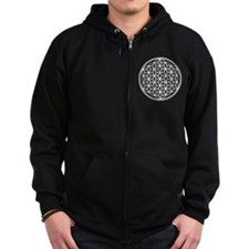Flower of Life in White Zip Hoodie
