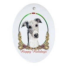 Greyhound Happy Holiday Keepsake (Oval)