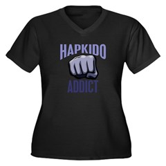 Hapkido Addict Women's Plus Size V-Neck Dark T-Shi