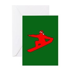 Christmas Snowboarder Greeting Card