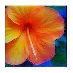 orange hibiscusTile Coaster