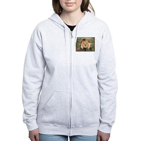 Male African lion Women's Zip Hoodie