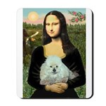 Mona Lisa/Poodle (white/toy) Mousepad