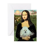 Mona Lisa/Poodle (white/toy) Greeting Card