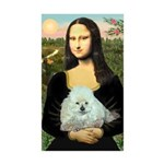 Mona Lisa/Poodle (white/toy) Sticker (Rectangle 50