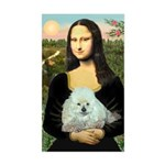 Mona Lisa/Poodle (white/toy) Sticker (Rectangle)