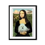 Mona Lisa/Poodle (white/toy) Framed Panel Print
