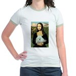 Mona Lisa/Poodle (white/toy) Jr. Ringer T-Shirt
