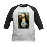 Mona Lisa/Poodle (white/toy) Kids Baseball Jersey