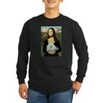 Mona Lisa/Poodle (white/toy) Long Sleeve Dark T-Sh
