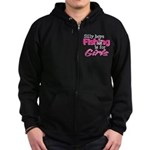 Silly boys, fishing is for girls! Zip Hoodie (dark