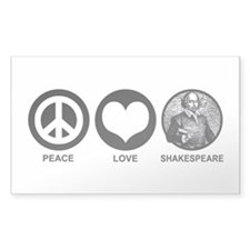 Peace Love Shakespeare Rectangle Decal