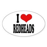I Love Redheads Oval Sticker (50 pk)
