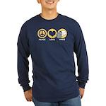 Peace Love Fries Long Sleeve Dark T-Shirt