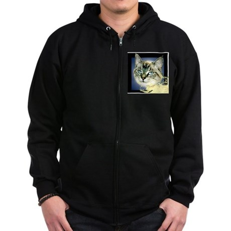 Blue Eyed Kitten Zip Hoodie (dark)