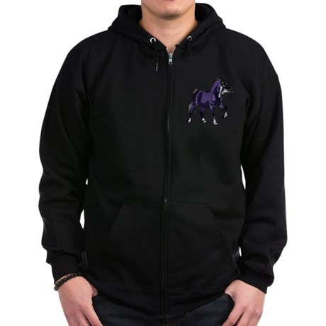 Fantasy Horse Purple Zip Hoodie (dark)