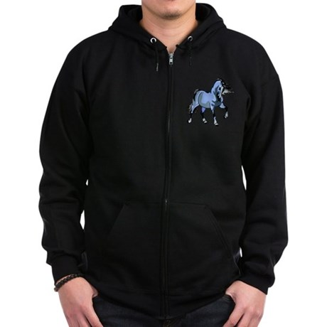Fantasy Horse Light Blue Zip Hoodie (dark)