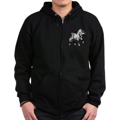 Spirited Horse White Zip Hoodie (dark)
