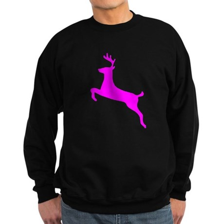 Hot Pink Leaping Deer Sweatshirt (dark)