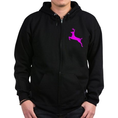 Hot Pink Leaping Deer Zip Hoodie (dark)