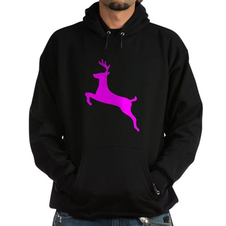 Hot Pink Leaping Deer Hoodie (dark)