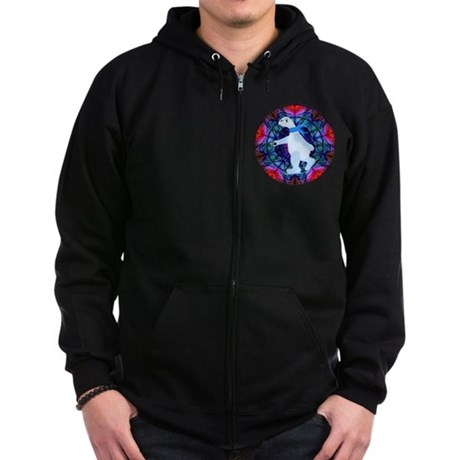 Skating Polar Bear Zip Hoodie (dark)
