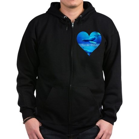 Save the Whales Zip Hoodie (dark)