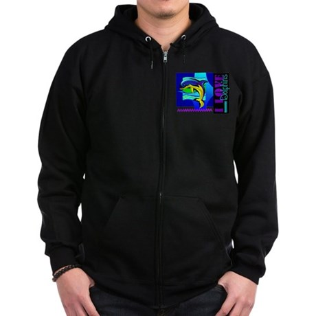 I Love Dolphins Zip Hoodie (dark)