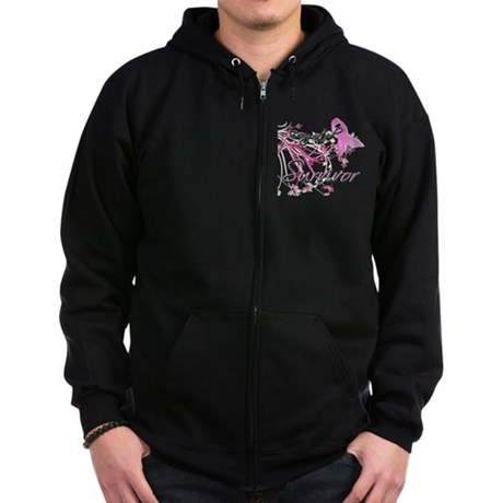 Pink Ribbon Survivor Zip Hoodie (dark)