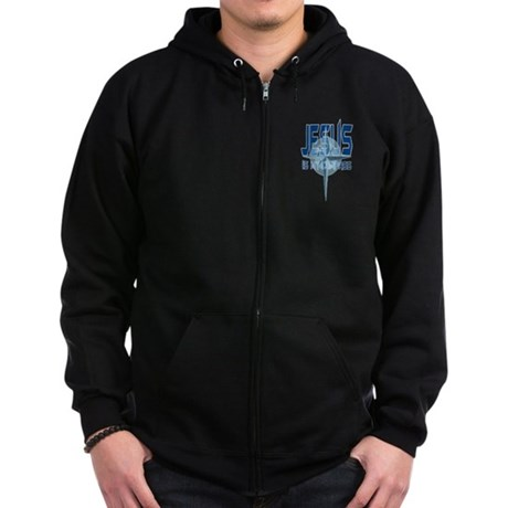 Jesus is My Compass - Blue Zip Hoodie (dark)