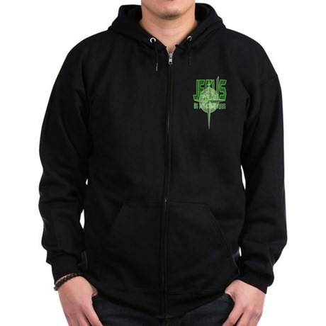 Jesus is My Compass - Green Zip Hoodie (dark)