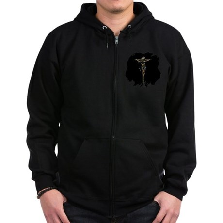 Jesus on the Cross Zip Hoodie (dark)