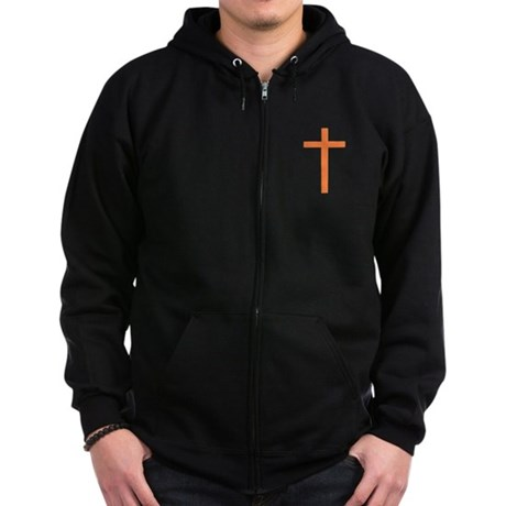 Orange Cross Zip Hoodie (dark)