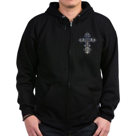 Ornate Cross Zip Hoodie (dark)