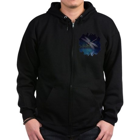Dragonfly at Night Zip Hoodie (dark)