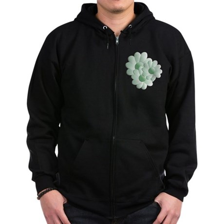 Pretty Daisy Trio - Green Zip Hoodie (dark)