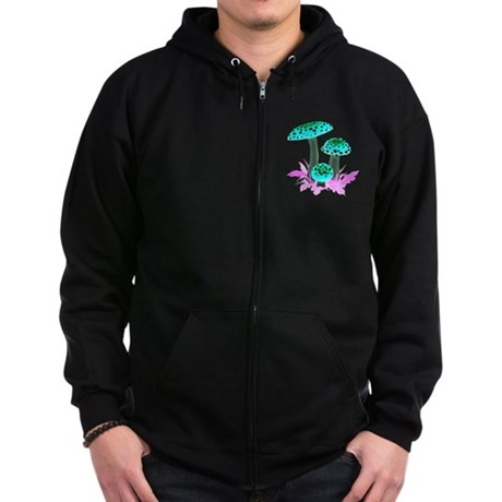 Teal Mushrooms Zip Hoodie (dark)