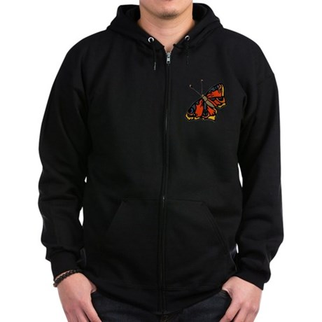 Orange Butterfly Zip Hoodie (dark)